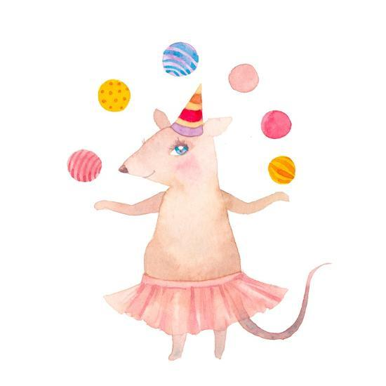Watercolor Juggler Mouse with Party Hat-Eisfrei-Art Print
