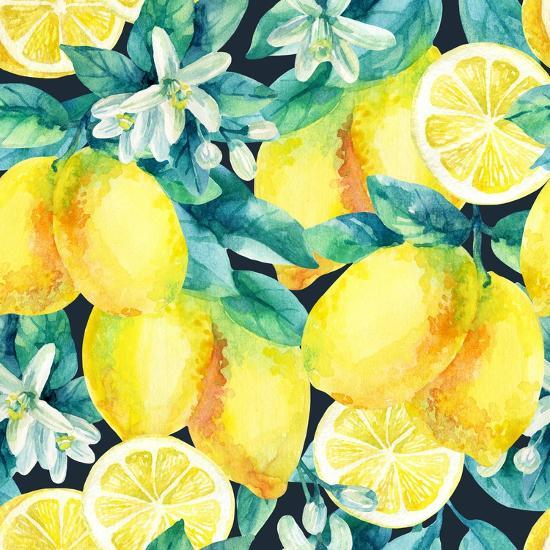 watercolor lemon fruit branch with leaves seamless pattern on black background lemon citrus tree art print syrytsyna tetiana art com watercolor lemon fruit branch with leaves seamless pattern on black background lemon citrus tree by syrytsyna tetiana