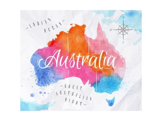 Australia Map Art.Watercolor Map Australia Pink Blue Art Print By Anna42f Art Com