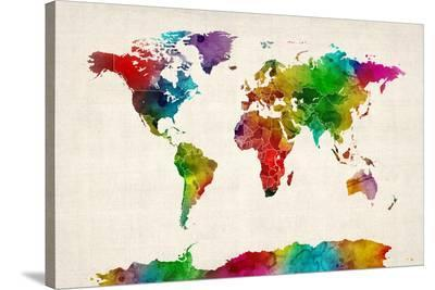 Watercolor Map of the World Map-Michael Tompsett-Stretched Canvas Print