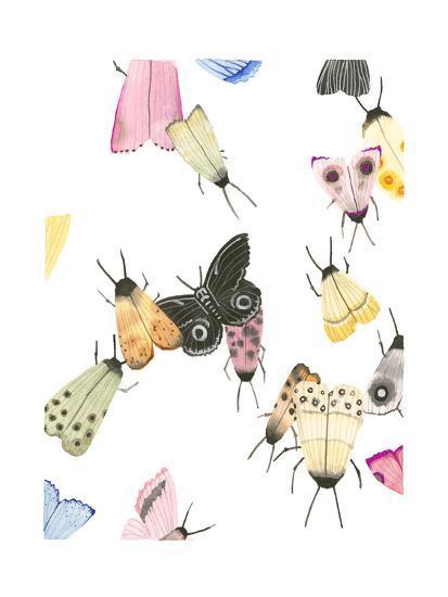 watercolor moths 2-Natasha Marie-Art Print