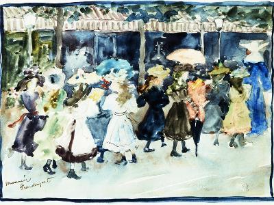 Watercolor of Girls Walking Along the Boardwalk by Maurice Brazil Prendergast-Geoffrey Clements-Giclee Print