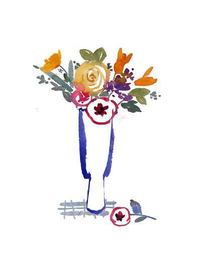 Watercolor of Mixed Flowers in Vase--Art Print