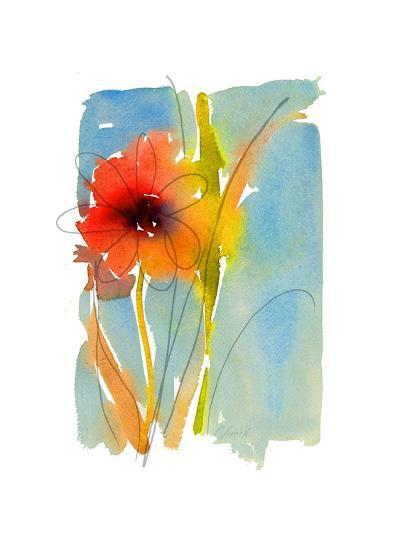 Watercolor of Red and Orange Flower with Leaves and Stem--Art Print