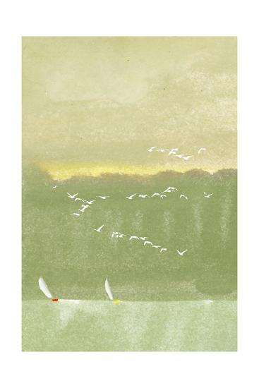 Watercolor of Sailboats with Flock of Seagulls--Art Print