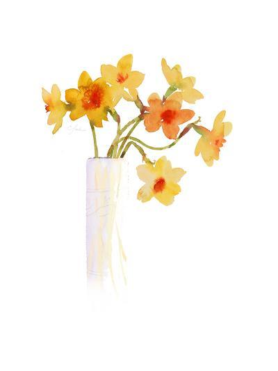 Watercolor of Yellow Daffodils in Vase--Art Print