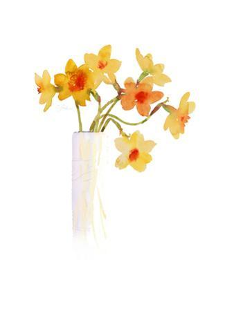 Watercolor of Yellow Daffodils in Vase