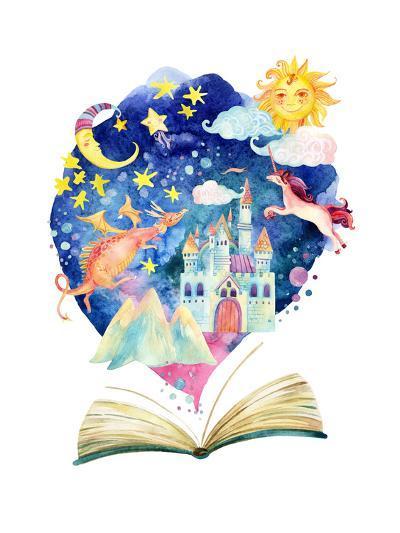 Watercolor Open Book with Magic Cloud-tanycya-Art Print