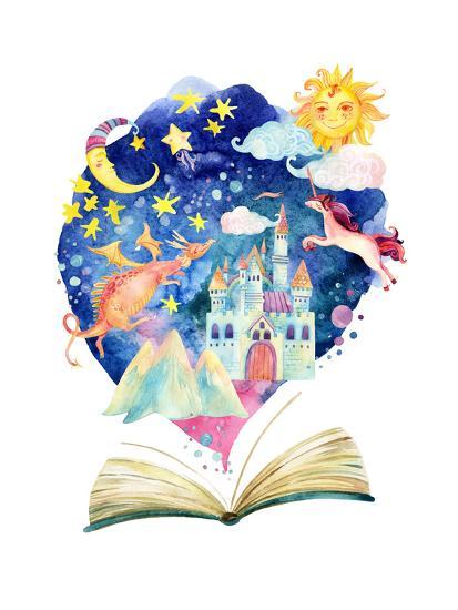 Watercolor Open Book with Magic Cloud Art Print by tanycya | Art.com
