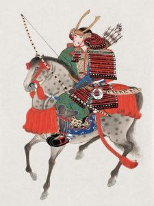 Watercolor Painting of Samurai on Horseback