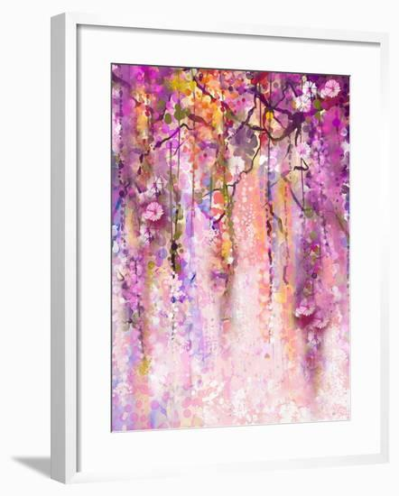 Watercolor Painting. Spring Purple Flowers Wisteria Background-Nongkran_ch-Framed Art Print