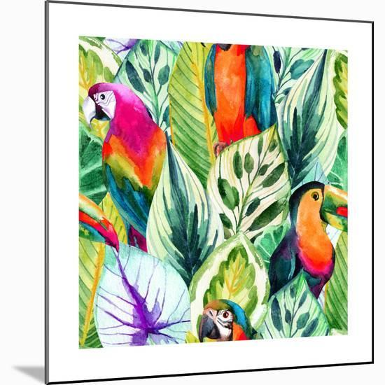 Watercolor Parrot Pattern on Tropical Leaves-tanycya-Mounted Premium Giclee Print