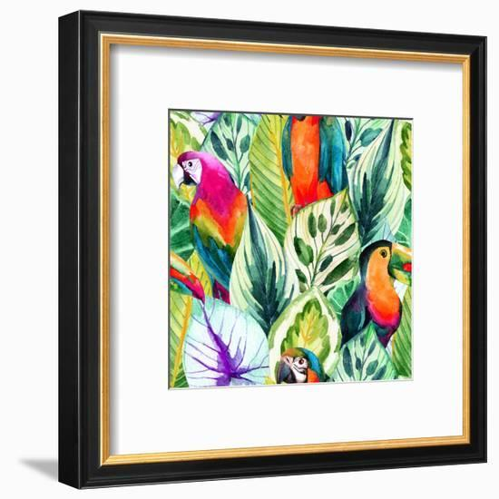 Watercolor Parrot Pattern on Tropical Leaves-tanycya-Framed Premium Giclee Print