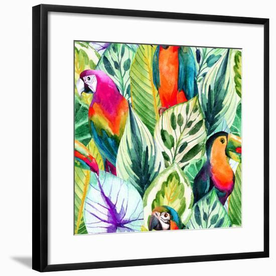 Watercolor Parrot Pattern on Tropical Leaves-tanycya-Framed Art Print