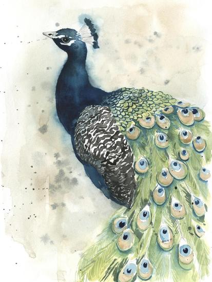 Watercolor Peacock Portrait II-Grace Popp-Premium Giclee Print