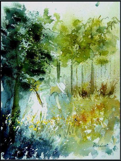 Watercolor Picking Flowers-Pol Ledent-Art Print