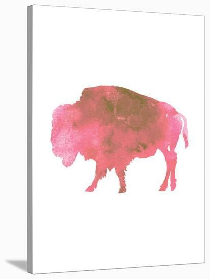 Watercolor Pink Buffalo-Jetty Printables-Stretched Canvas Print