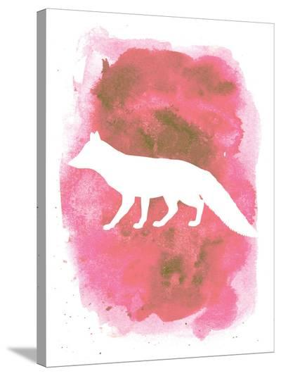 Watercolor Pink Fox-Jetty Printables-Stretched Canvas Print