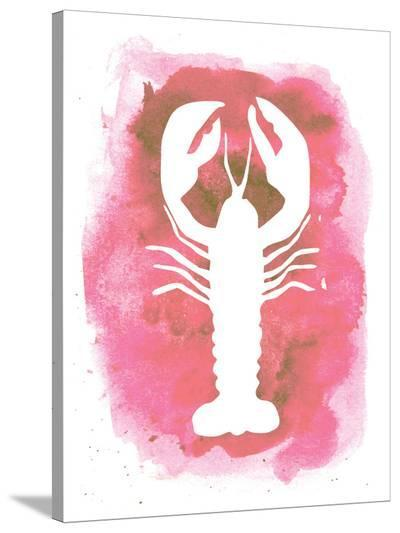 Watercolor Pink Lobster-Jetty Printables-Stretched Canvas Print