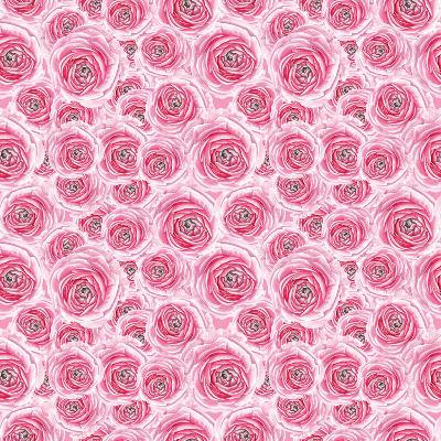Watercolor Pink Rose Pattern-lenavetka87-Art Print