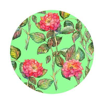 Watercolor Pink Roses Circle Pattern Texture Background-Silmairel-Art Print