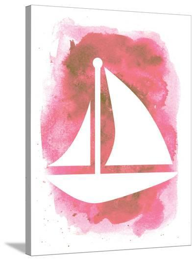 Watercolor Pink Sailboat-Jetty Printables-Stretched Canvas Print