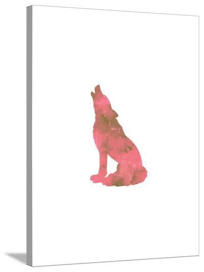 Watercolor Pink Wolf-Jetty Printables-Stretched Canvas Print