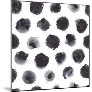 Watercolor Polka Dot Pattern in Black and Gray.