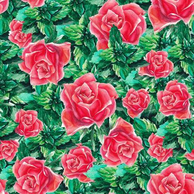 Watercolor Rose and Leafs Pattern-lenavetka87-Art Print