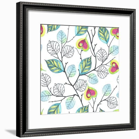 Watercolor Seamless Pattern with Branches and Leaves, Abstract Illustration in Vintage Style.-Nikiparonak-Framed Premium Giclee Print