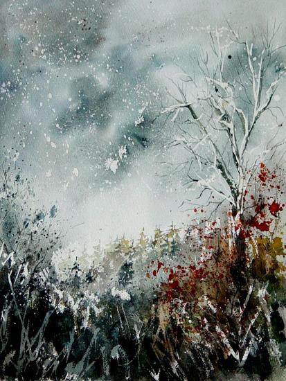 Watercolor Snow and Red Leaves-Pol Ledent-Art Print