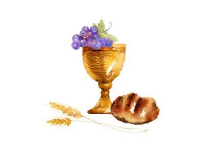 Watercolor Style of Bread, Grapes, and Chalice