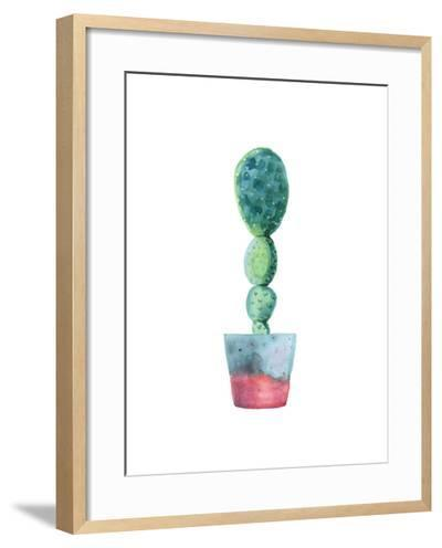 Watercolor Succulent in a Flowerpot. Isolated on a White Background. Handdrawn Green Succulent in P-radionastya-Framed Art Print