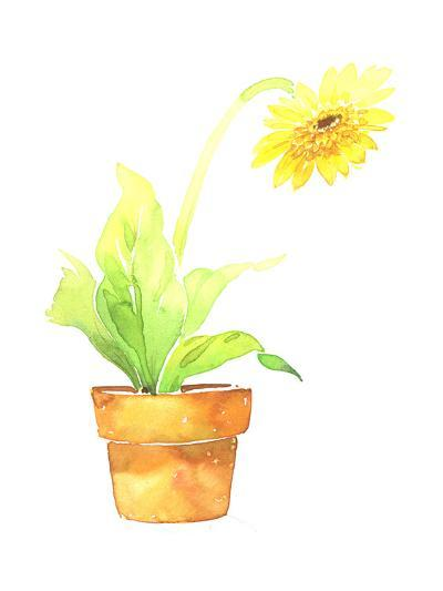 Watercolor Sunflower in Clay Pot--Art Print