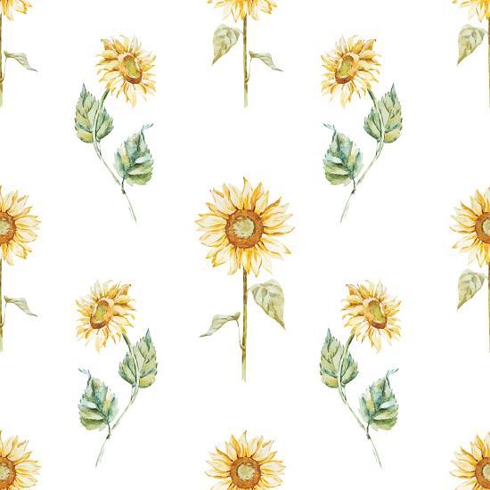 Watercolor Sunflower Pattern-Zenina-Art Print