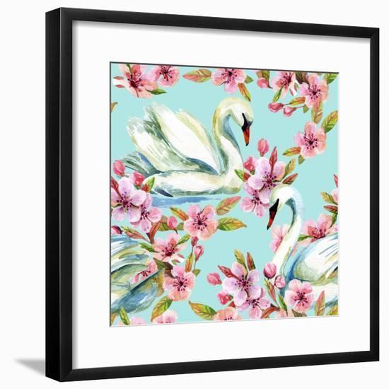 Watercolor Swan and Cherry Bloom-tanycya-Framed Premium Giclee Print