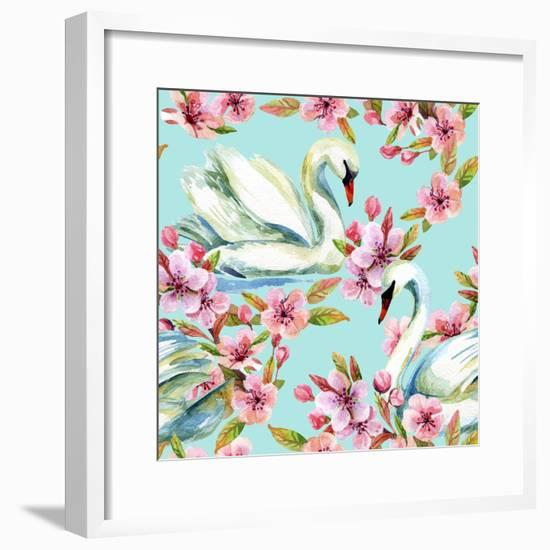 Watercolor Swan and Cherry Bloom-tanycya-Framed Premium Giclee Print