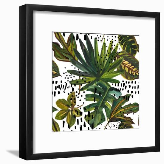 Watercolor Tropical Leaf Pattern - Unusual Leaves on Doodle Background-tanycya-Framed Art Print