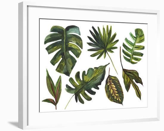 Watercolor Tropical Leaf Set-tanycya-Framed Art Print