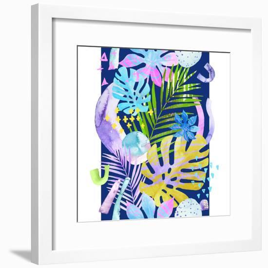 Watercolor Tropical Leaves and Geometric Shapes-tanycya-Framed Premium Giclee Print