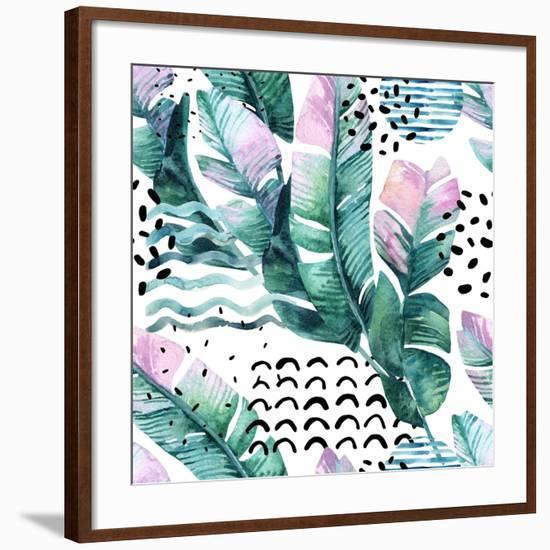 Watercolor Tropical Leaves and Geometric Shapes-tanycya-Framed Art Print