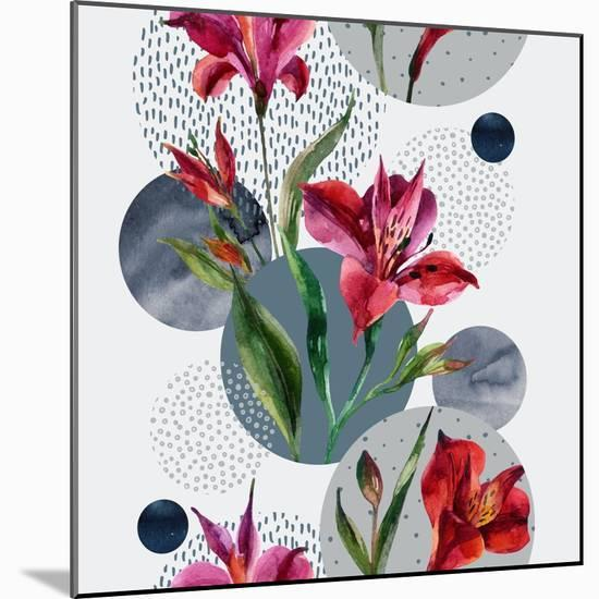 Watercolor Tropical Leaves and Geometric Shapes-tanycya-Mounted Premium Giclee Print