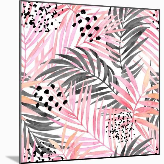 Watercolor Tropical Leaves Seamless Pattern. Watercolour Pink Colored and Graphic Palm Leaf Paintin-tanycya-Mounted Premium Giclee Print