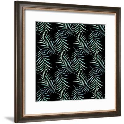 Watercolor Tropical Palm Leaves on Dark Background-Maria Mirnaya-Framed Premium Giclee Print