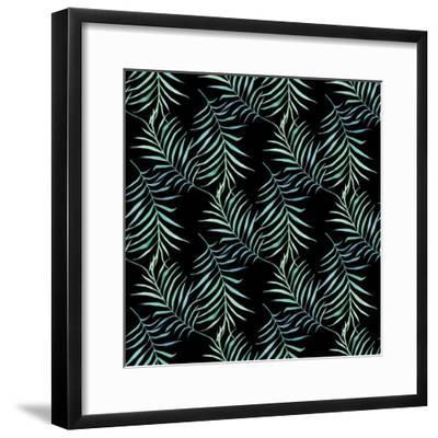 Watercolor Tropical Palm Leaves on Dark Background-Maria Mirnaya-Framed Premium Giclee Print