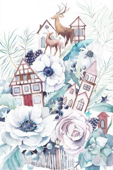 Watercolor Winter Fairytale Illustration. Hand Painted Bouquet with Old Houses, Deers, Anemone Flow-Eisfrei-Art Print