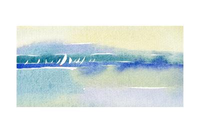 Watercolor with Many Sailboats and Shoreline--Art Print