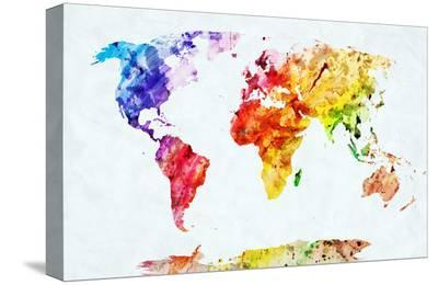 Watercolor World Map. Colorful Paint on White Paper. HD Quality-Michal Bednarek-Stretched Canvas Print