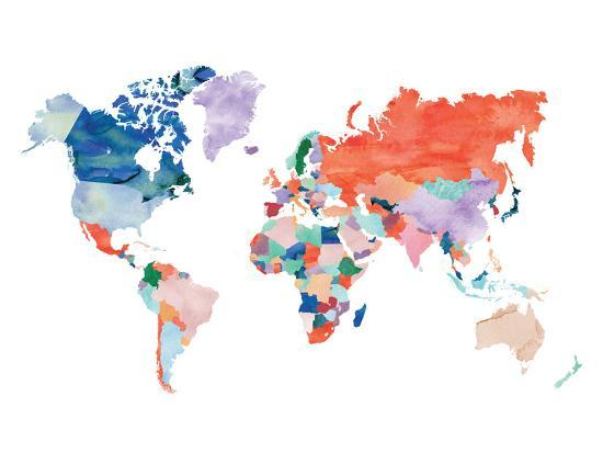 Watercolor World Map-Elena David-Giclee Print