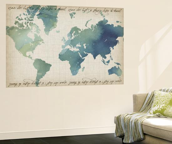 Watercolor World Map Wall Mural By Grace Popp Art Com